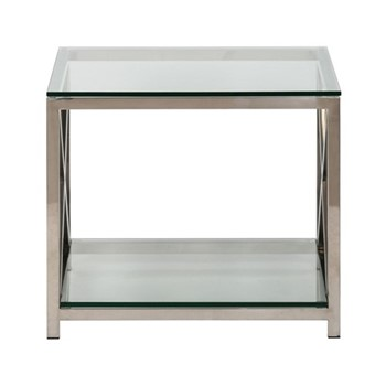 Manhattan Square side table, W60 x D60 x H51.4cm, stainless steel/clear glass