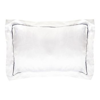 St Tropez Standard pillowcase, 50 x 75cm, white/navy