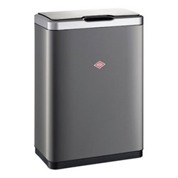 i.Master Double 2 compartment bin, H65cm - 2 x 20 litre, matt graphite