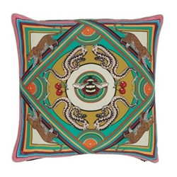Trippy Town Cushion, L45 x W45cm, green