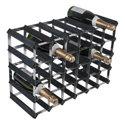 30 bottle wine rack, H43 x W63 x D23cm, black ash/galvanised steel