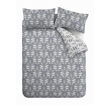 Leaf King size duvet set, 220 x 230cm, grey