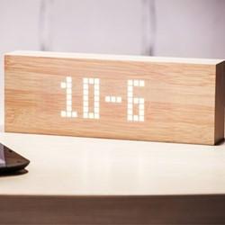 Message clock, L25 x W4.5 x H9cm, beech/white