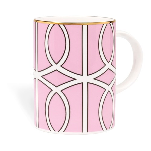 Loop Mug, 10.2 x 7.6cm, pink/white (gold rim)