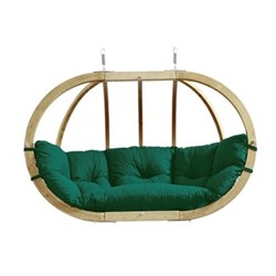 Globo Royal 2 seater hanging chair, 176 x 118 x 72cm, green