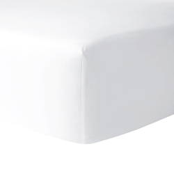 Flandre - 200 Thread Count Cotton Percale Double fitted sheet, 135 x 190cm, Blanc