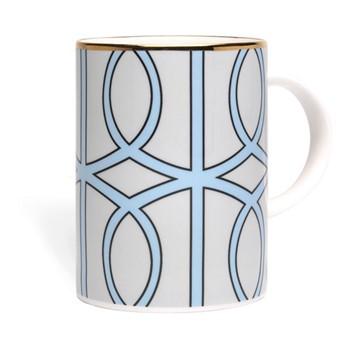 Loop Mug, 10.2 x 7.6cm, pale grey/aqua (gold rim)