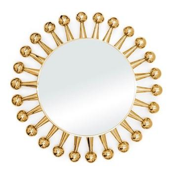 Jack mirror, Dia61  x  D5cm, brass & nickel