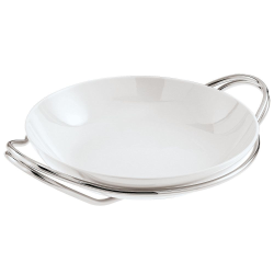 Living Round rice dish, 36cm, porcelain with silver plated stand