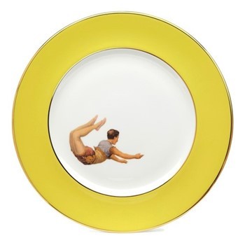 Trapeze Boy Dinner plate, 27cm, crisp white with yellow border/burnished gold edge