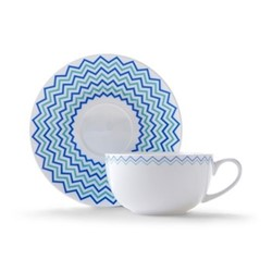 Wave Cappuccino cup and saucer, H7.5 x D11cm, blue/turquoise