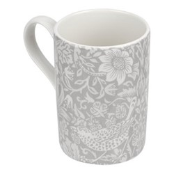 Pure Morris - Strawberry Thief Set of 4 mugs, 34cl, grey/white