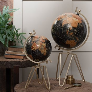 Ebu Small decorative globe, D45 x 21cm, antique brass