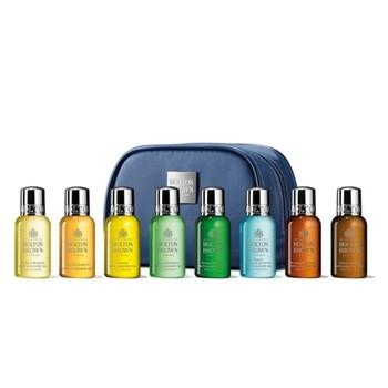 Explore Luxury - Bath & Body Collection 8 piece men's travel size toiletries kit, blue bag