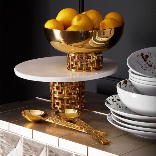 Brass Nixon Centerpiece bowl, H13 x D23cm, White