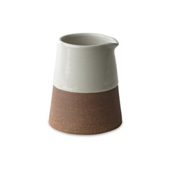 Mali Slanting jug, D11.5 x 9.5cm, white & terracotta