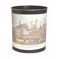 Tower of London - Shepherd's London Wastepaper bin with hand guilded gold rim, H28cm, Oxford blue
