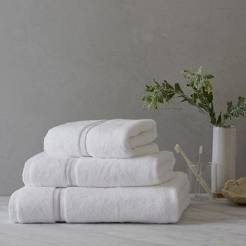 Savoy Hand towel, 50 x 90cm, white and silver