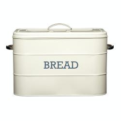 Living Nostalgia Bread bin, 34 x 21.5 x 25cm, Cream Enamelled Steel