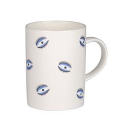 Eye Mug, H10 x D7cm, white and blue