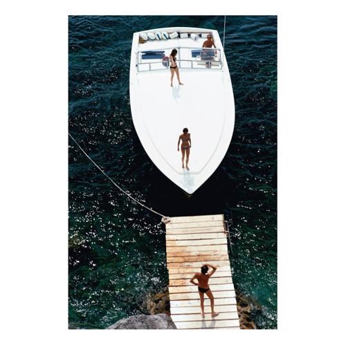 Slim Aarons - Speedboat Landing Mounted print, H76 x W51cm, Perspex