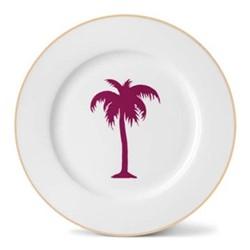 Palm Tree Dinner plate, 26cm, gold rim
