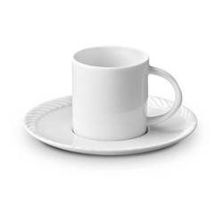 Corde Espresso cup and saucer, 11cl, white