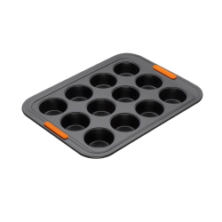 Bakeware 12 cup muffin tray, 40 x 30cm, Black