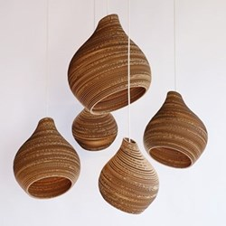 Scraplights Hive15 Pendant light, D38 x H46cm, recycled cardboard