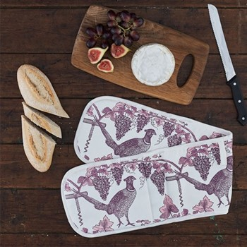 Pheasant & Vine Oven glove, 84 x 20cm, white/soft pink/dusty purple