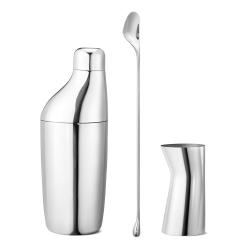 Sky 3 piece set shaker/stirring spoon/jigger, 28 x 2.2/22.1 x 8.1/8.5 x 4.4cm, mirror stainless steel