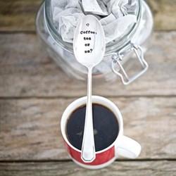 Coffee, Tea Or Me? Teaspoon, 13cm, silver plated