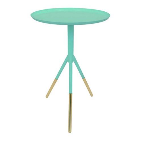 Tripod table, H58cm x Dia37cm, Mint Green/Brass