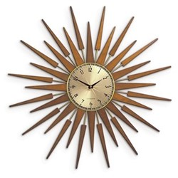 Pluto Wall clock, 65 x 65 x 4 cm , Spun brass lattice wood