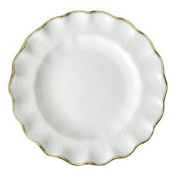 Darley Abbey Pure Gold Fluted dessert plate, 21cm, white/gold