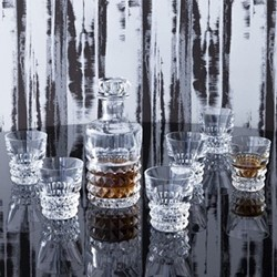 Louxor Decanter and set of 6 tumblers, clear