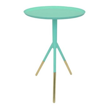 Tripod table, H58cm x Dia37cm, mint green/brass