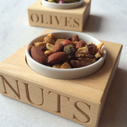 Nuts Nut holder with dish, 3.2 x 10.5 x 10.5cm, Beech Wood And Porcelain