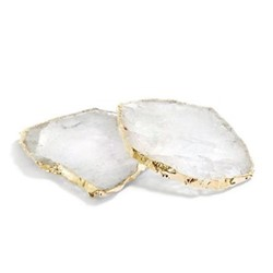 Kivita Pair of coasters, approx. D11.5cm, crystal with gold rim