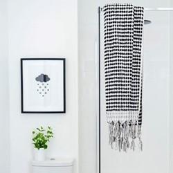 Terry Towel, 80 x 160cm, black & white spot