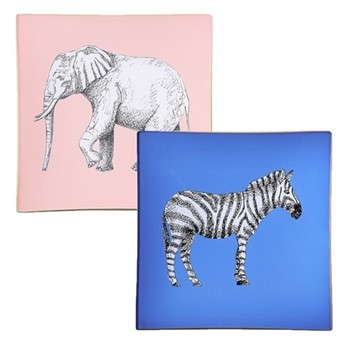 Safari Pair of square decoupage trays, 15cm, cornflower blue/gold edging