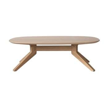 Cross Oval oak coffee table, H39 x W90 x D77.4cm, oak