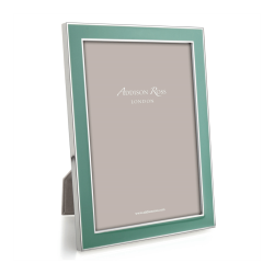 """Enamel Range Photograph frame, 5 x 7"""" with 15mm border, Duck Egg With Silver Plate"""