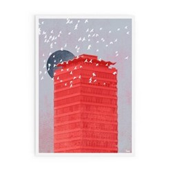Concrete Moon Collection - Liberty Moon Framed print, A1 size, red/grey