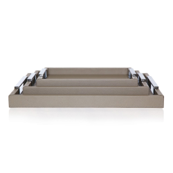 Tray, 37.5 x 27.5cm, Grey Leather With Polished Handles