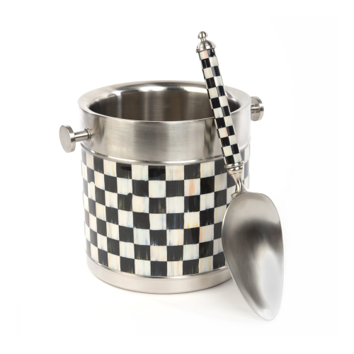 Courtly Check Ice bucket, 18cm, Black & White