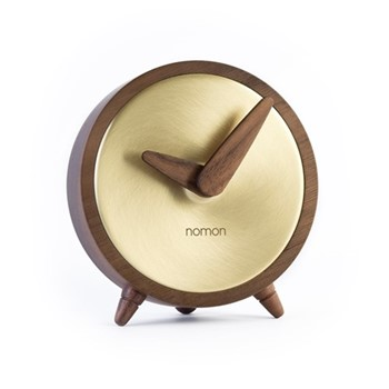 Átomo Table clock, D10cm, polished brass/walnut