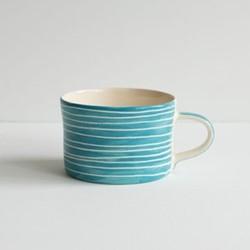 Sgrafitto Stripe Set of 6 mugs, H7 x W10.5cm, turquoise