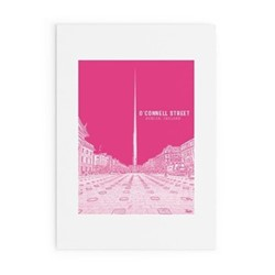 Dublin Landmark Collection - O'Connell Street Framed print, A4 size, pink/white