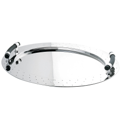 Michael Graves Oval tray, 58cm, stainless steel with black handles